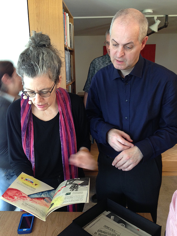 Click the image for a view of: Robbin Ami Silverberg and Paul van Capelleveen at the Letterform Archive in San Francisco