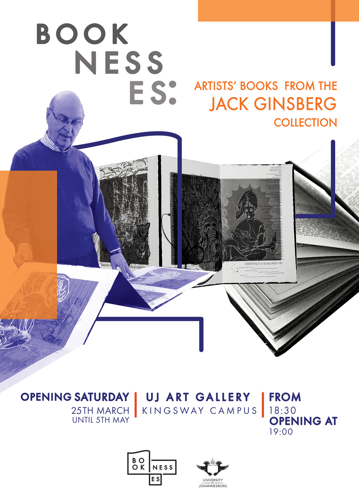 Click the image for a view of: Official poster for the exhibition Booknesses: Artists' Books from the Jack Ginsberg Collection - UJ Art Gallery till 5 May