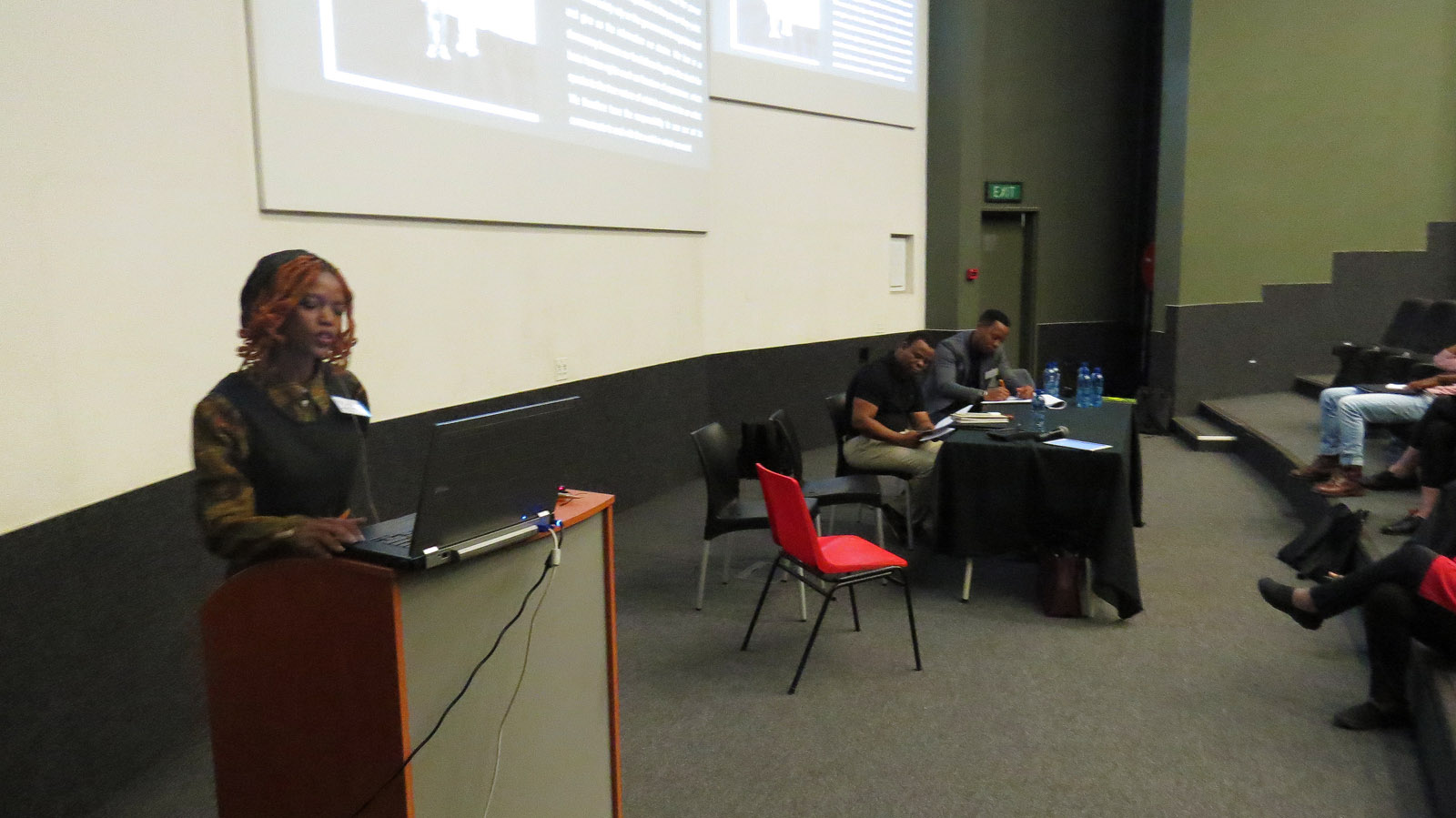 Click the image for a view of: Nonkululeko Chabalala speaking at the roundtable: South African book arts as a democratic force. Sunday 26 March