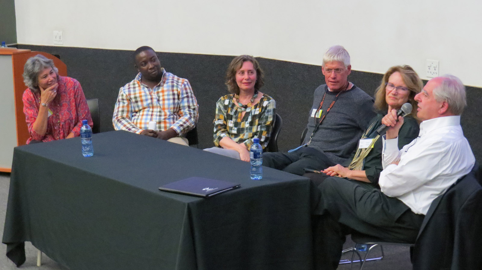 Click the image for a view of: Roundtable. A discussion of South African practitioners and studios working across disciplines. Kim Berman (chair) - discussants: Nathi Ndladla, Eliza Kentridge, Mark Attwood, Susan Gosin and William Kentridge. Friday 24 March