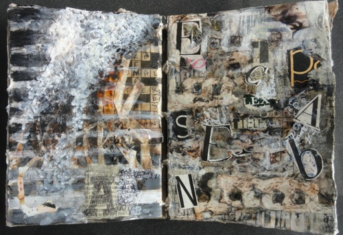 Click the image for a view of: Textual Images: Petru Viljoeen (S.A.) Medium: Mixed media